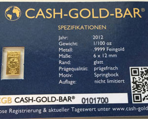 Goldbarren 0_311g 1_100 oz Feingold 9999