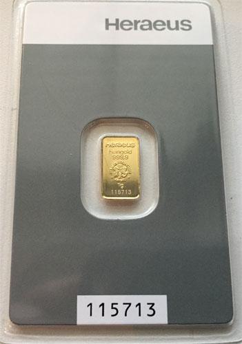 Goldbarren 1 Gramm Feingold 9999 Heraeus