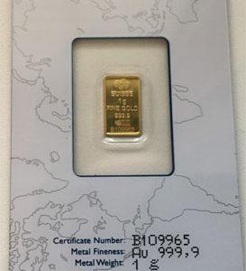 Goldbarren 1g Feingold 9999 PAMP