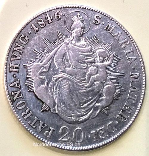 Ungarn 20 Kreuzer 1846 Maria Mater Dei
