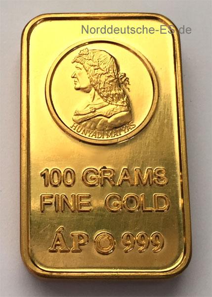 Ungarn-Goldbarren-999-100g historisch