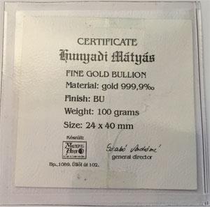 Zertifikat-Goldbarren-100g-Ungarn