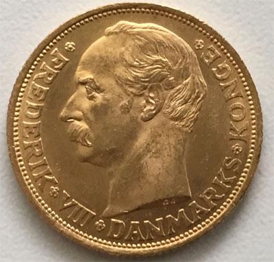 Daenemark 20 Kronen Koenig Frederik VIII 1909
