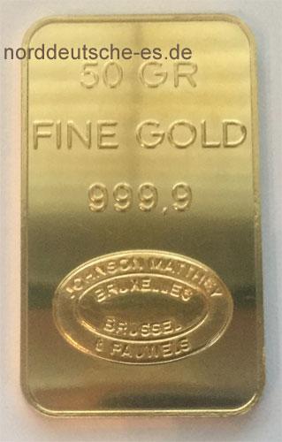 Goldbarren 50g Feingold 9999 Johnson Matthey Brüssel - historisch
