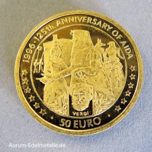 Isle Of Man 50 Euro Goldmünze 9999 der London Mint 1996 Verdi
