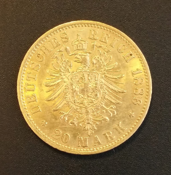 Deutsches Reich 1886 20 Mark Gold