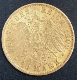 Deutsches Reich 20 Mark 1900 Gold
