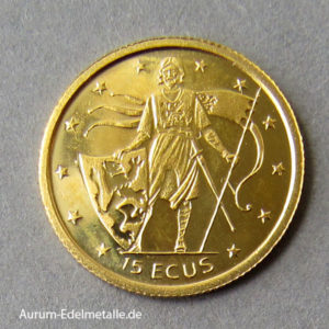 Gibraltar 15 ECUS 1995 Goldmünze 1_25 oz Feingold 999