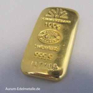 Goldbarren 100 g Commerzbank Gussbarren Feingold 999.9