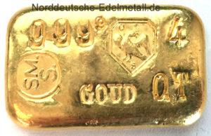 Goldbarren 100g Feingold 9999 Schoene Niederlande