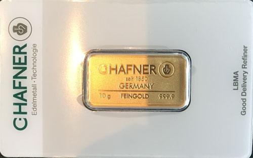 Goldbarren 10g Feingold 9999 C. Hafner