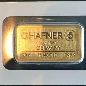 Goldbarren 20g Feingold 9999 Hafner Pforzheim CertiCard