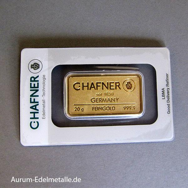 Goldbarren 20g Feingold 9999 Hafner Pforzheim