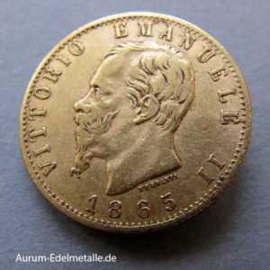 Italien 20 Lire Vittorio Emanuele II Goldmünze 1861-1878