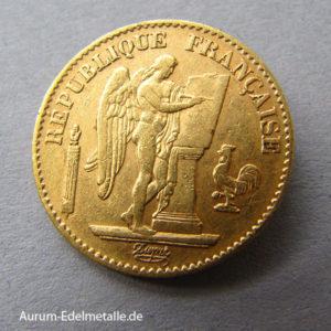 Frankreich 20 Francs stehender Engel 1871-1898
