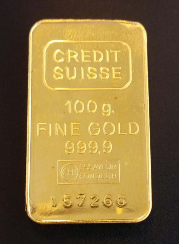 Goldbarren 100g Feingold 9999 Credit Suisse