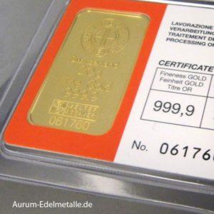Goldbarren 20g Feingold 9999 Argor Heraeus Schweiz