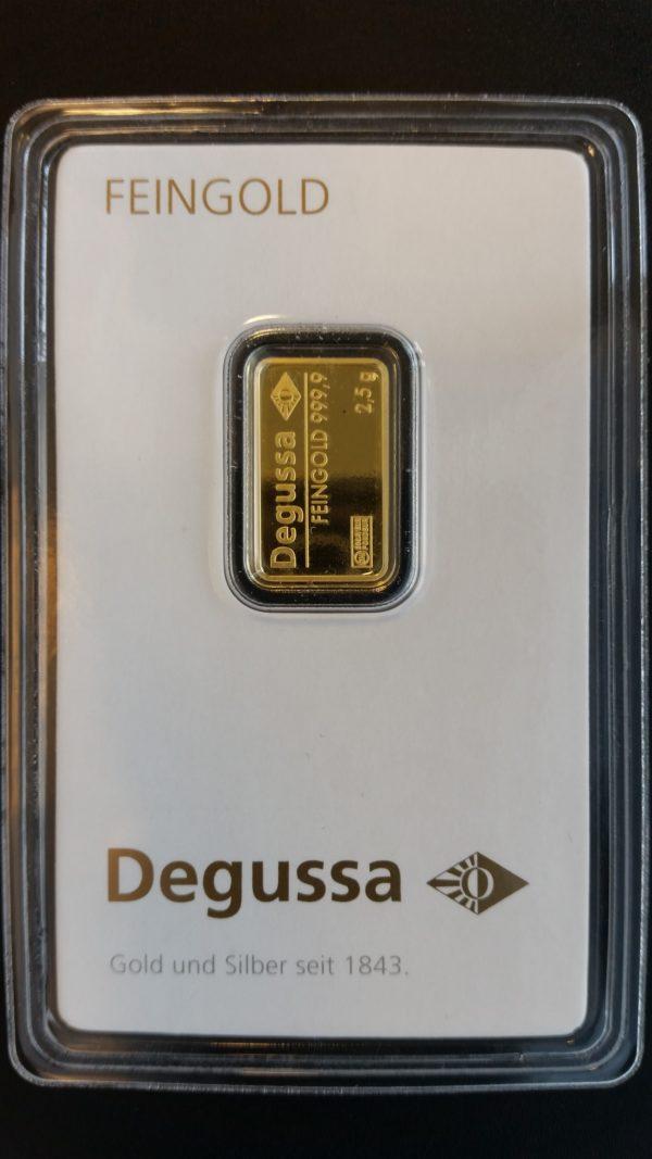 Goldbarren 2,5g Feingold 9999 Degussa