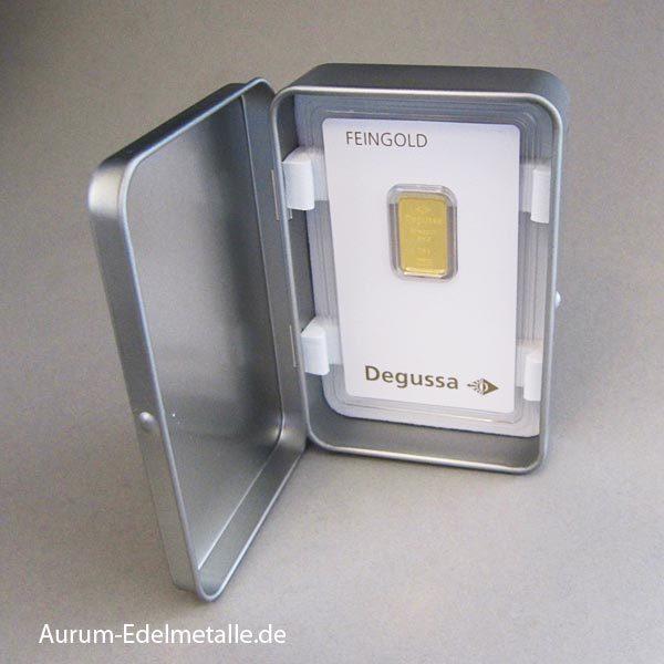 Goldbarren 2_5g Geschenk Metallbox