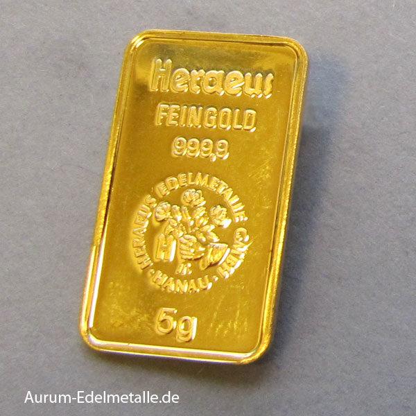 Goldbarren 5 Gramm Feingold 9999 Heraeus Holding Hanau