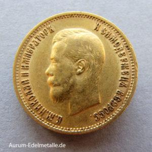 Russland 10 Rubel Gold Zar Nikolaus II 1898-1911