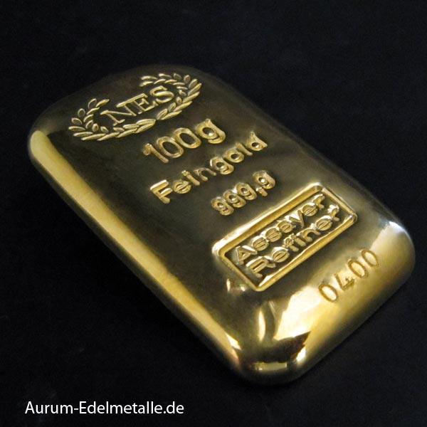 Goldbarren 100 g Feingold 9999 NES Gussbarren