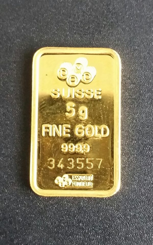 Goldbarren 5 g Feingold 9999 PAMP Schweizer Hersteller