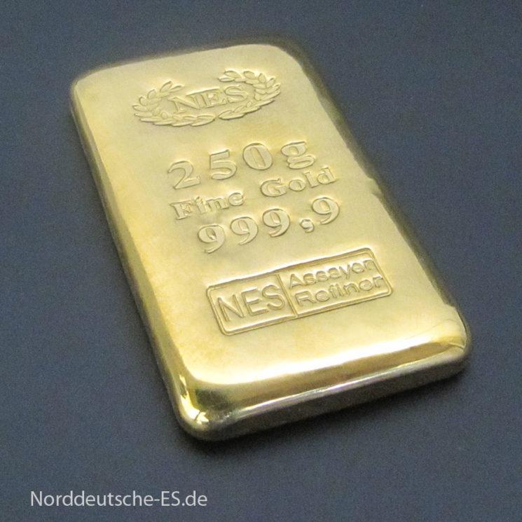 Goldbarren 250g Feingold 9999  ‰ gegossen Norddeutsche ES  mit Zertifikat