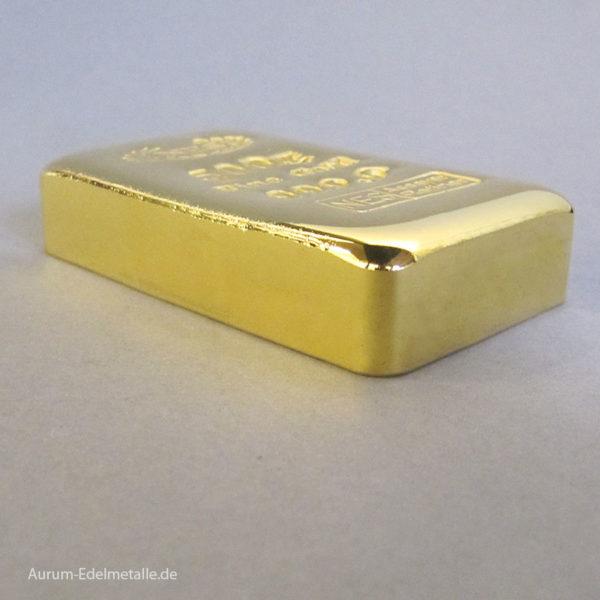 Goldbarren 500g Feingold 9999 Norddeutsche ES gegossen