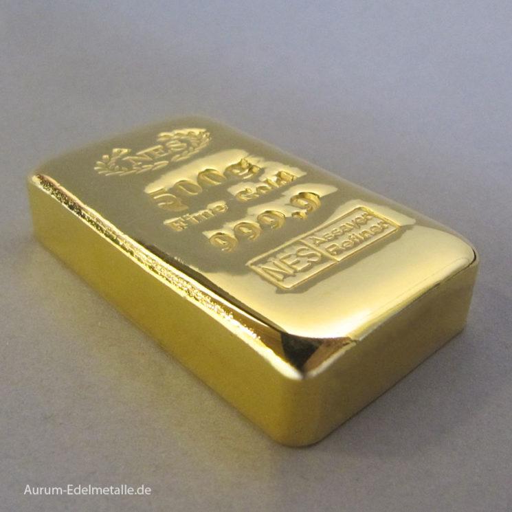 Goldbarren 500g Feingold 9999 Norddeutsche ES gegossen, mit Zertifikat