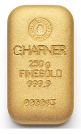 Goldbarren 250g Hafner Feingold 9999 Gussbarren