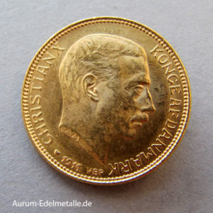 Dänemark 20 Kronen Christian X Goldmünze 1913-1917
