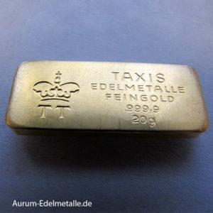Goldbarren historisch 20g Feingold 9999 Thurn und Taxis