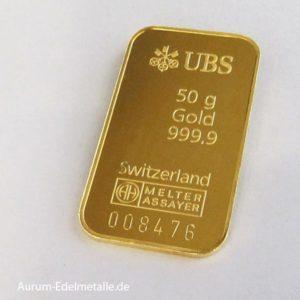 Goldbarren 50 g Feingold