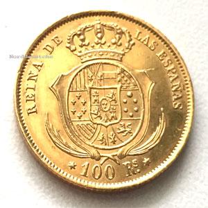 Spanien Goldmünze 100 Reales Prägejahr 1860 Aurum Edelmetallshop