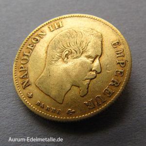 Frankreich 10 Francs Gold Napoleon III ohne Kranz 1854-1860