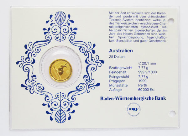 Lunar I Hase 1_4_oz Goldmuenze 25 Dollar 1999