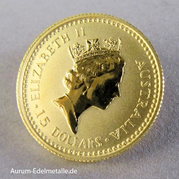 Australien 1_10 Oz Kangaroo Nugget Goldmünze 1992