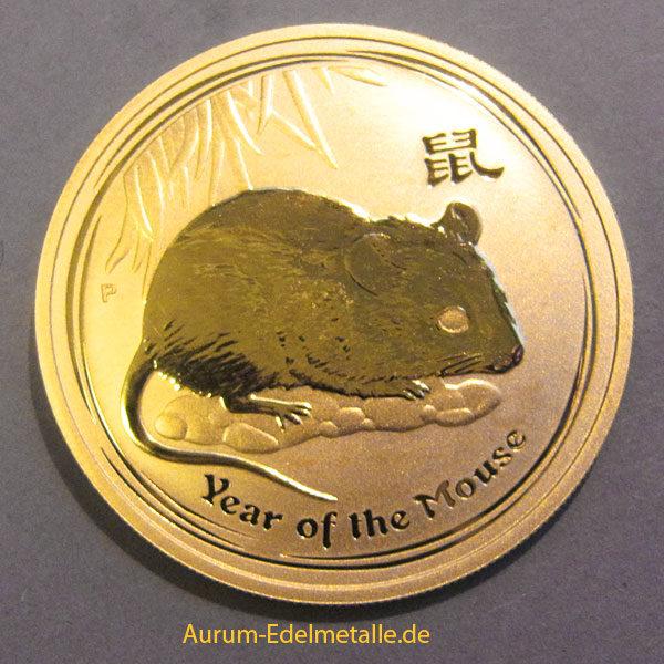 "1 oz Australien 2008 Lunar II ""Year of the Mouse"" (Maus) 1 Unze 999,9 Goldmünze"
