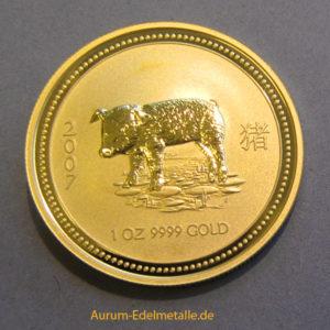 Australien Lunar I Schwein 1oz Gold 100 Dollars 2007