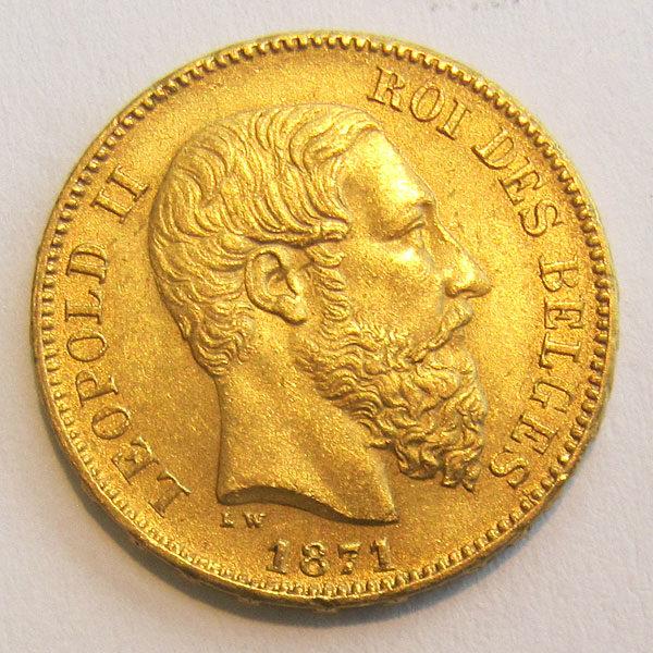 Belgien 20 Francs Gold Leopold II Jahrgang 1871