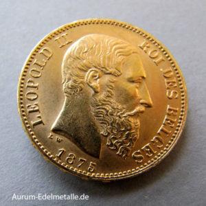 Belgien 20 Francs Gold Leopold II 1866-1882