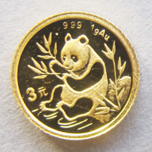 China Panda 3 Yuan 1g Feingold 999 seltene Goldmünze 1991