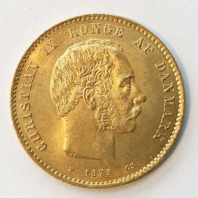 Goldmünze Dänemark 10 Kronen König Christian IX 1873