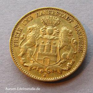 Deutsches Reich 10 Mark Gold 1873-1913 Freie Hansestadt Hamburg