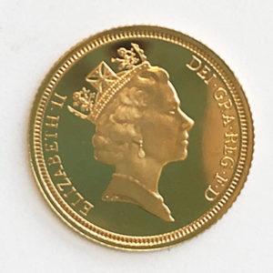 England 1/2 Half Pound Sovereign Queen Elisabeth 1990