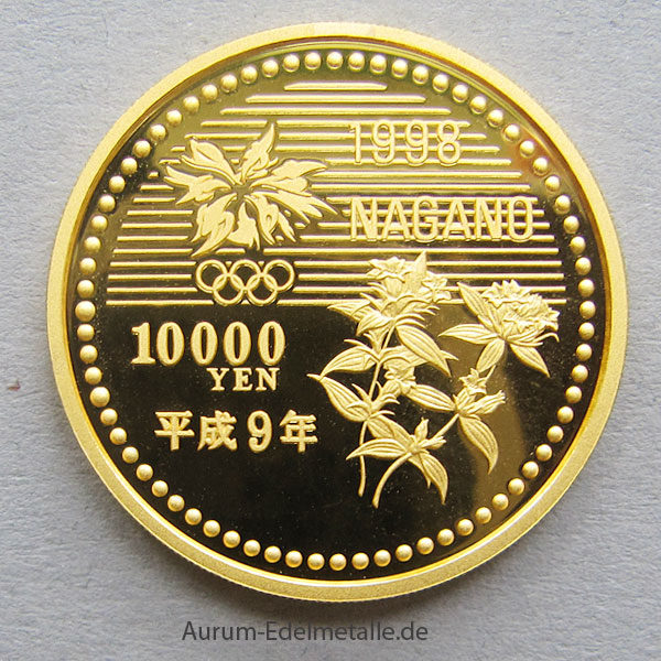 Japan 10000 Yen Goldmünze Olympiade NAGANO 1998 Winterspiele Eiskunstlauf