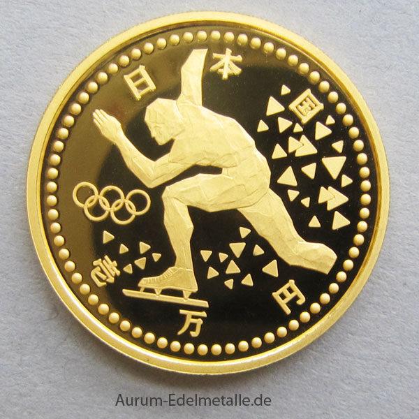 Japan 10000 Yen Goldmünze Olympiade NAGANO 1998 Winterspiele Eisschnelllauf