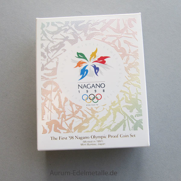 Japan 10000 Yen Goldmünze Olympiade NAGANO 1998 Winterspiele, Ski-Springer