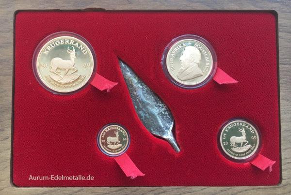 Süd Afrika Krügerrand Millennium Set 2000 Silber Speerspitze Limited Edition